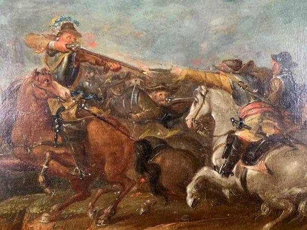 Peinture Fin 18eme Huile Sur Panneau Bois D Acajou Representant Une Bataille Bolezart