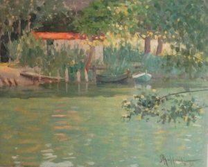 Bord d'étang barque