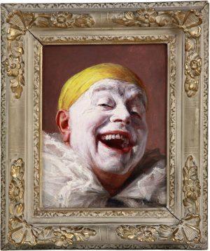 """Portrait Huile Sur panneau Par Armand Henrion """" le pierrot rieur """""""