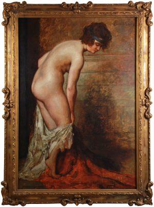 Emile Baes bathing nude by monartsgallery